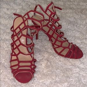 Express Red Cage Heels